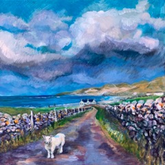 Lynn Lindsay  Lost on the Road to Balnakeil  Acrylic on canvas  40 x 40cm  £395 (unframed)