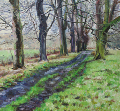 Katherine Cowtan Winter Avenue Oil on board 40 x 40 cms £475
