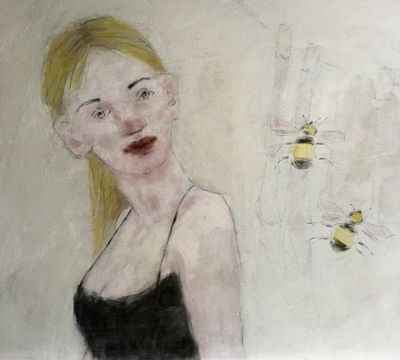 Joyce Gunn Cairns Caring For Bees Oil on board  50 x 65 cms £795 SOLD