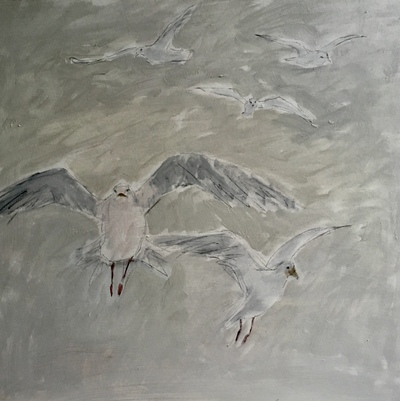 Joyce Gunn Cairns Gulls Oil on board  60 x 60 cms £550