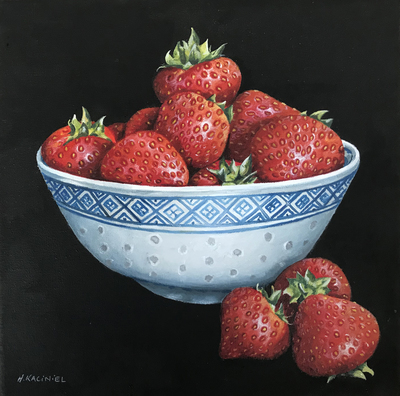 Hanna Kaciniel Chinese Bowl of Strawberries 25 x 25 cms £495