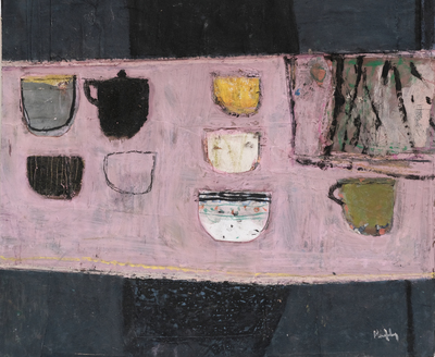 Sandy Murphy RGI PAI Pink Cloth and Cups  13 x 16 ins acrylic  £1200