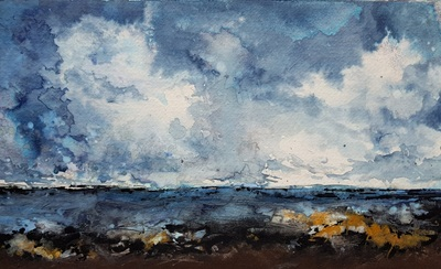 Naomi Rae Rising Tide, Falling Sky, Imachar, Isle of Arran Indian ink on paper 40x50cm  £495