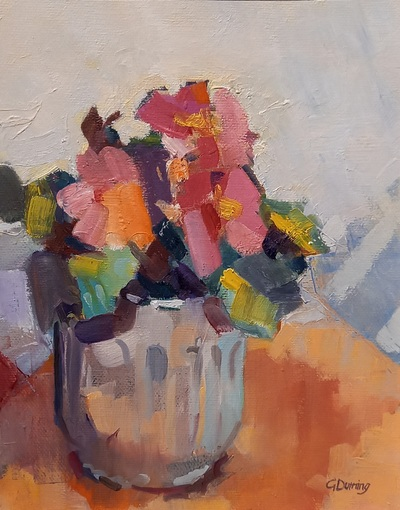 Geraldine Durning Pink Flowers Oil on canvas  25 x 20 cms £390 SOLD