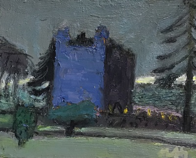 Sandy Murphy RGI PAI Gelston Castle, Dusk Oil on board  15 x 20 cms £300