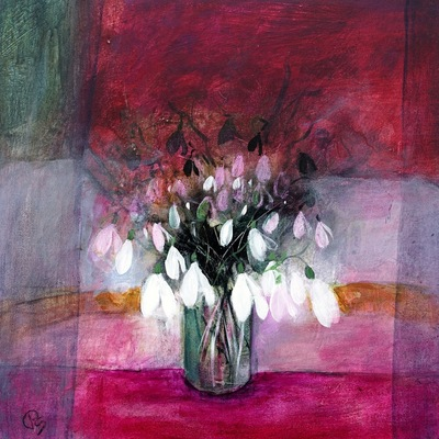 Patricia Sadler Snowdrops on Pink Acrylic on canvas 40 x 40 cms £1100