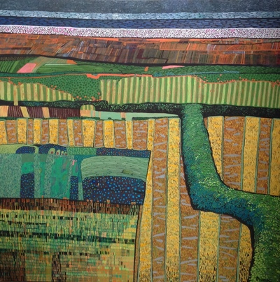 Carol Dewart PAI RSW Plough the Fields and Scatter gouache 80 x 80 cms £3200 SOLD