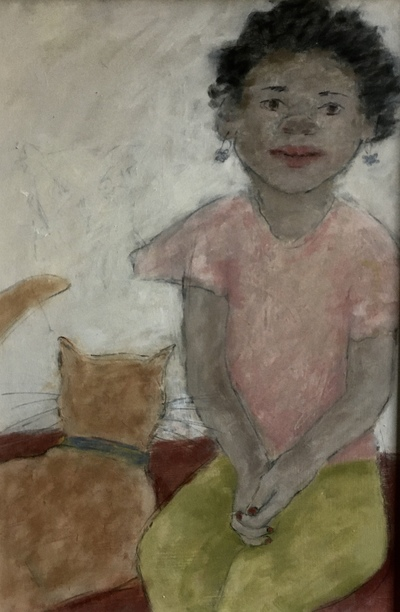 Joyce Gunn Cairns Girl With Red Cat Oil on board  56 x 41cms £725