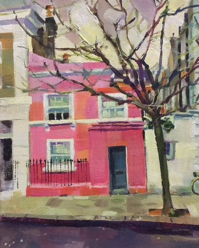 Geraldine Durning That Pink House in Chelsea Oil on canvas  25 x 20 cms £450 SOLD