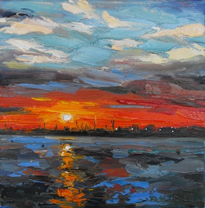 Judith I Bridgland Setting Sun, Humber Estuary oil on linen 30 x 30 cms £1350