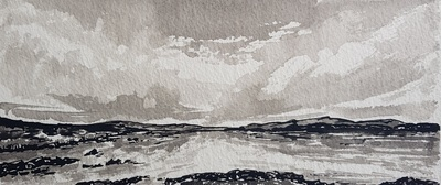 Naomi Rae Martyrs Bay, Iona Indian ink on paper  10 x 23 cms £195 (mounted)