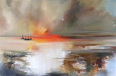 Rosanne Barr Sunset Spilling Across the Sea Oil on canvas  55 x 70 cms £1500 SOLD