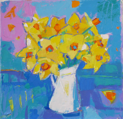 Marion Thomson Daffodils in a White Jug 24 x 24 cms £520