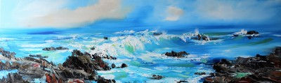 Rosanne Barr Wave Watching from the Rocks oil on canvas 30 x 100 cms £1200