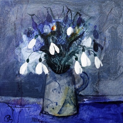 Patricia Sadler Snowdrops in a Favourite Pottery Jug Acrylic on canvas  20 x 20 cms £475 SOLD