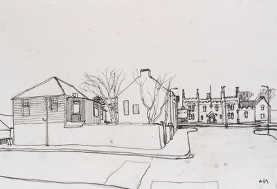 Sandy Murphy RGI PAI Old Yard, Ardrossan   14 x 21 ins charcoal pencil  £500