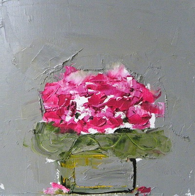 The Pink Cyclamen 40 x 40 cms oil on canvas SOLD