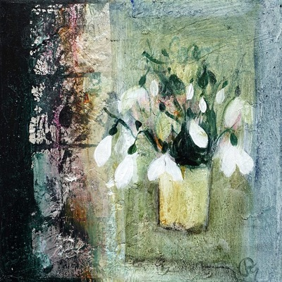 Patricia Sadler Favorite Snowdrops Acrylic on canvas 20 x 20 cms SOLD