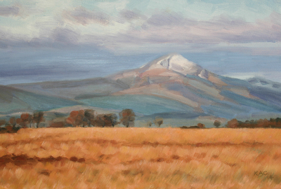 Katherine Cowtan Ben Lomond, Melting Snow II   Oil on board  24 x 37 cms   £295