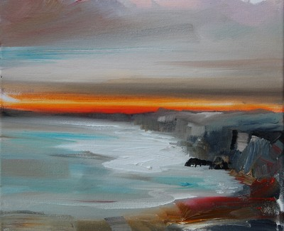 Rosanne Barr From Cliffs to Shore Oil 25 x 35 cms SOLD