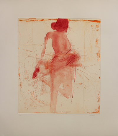 Henry Jabbour Dancer with Hand On Foot (Two Plate Etching) Lift ground etching and aquatint from two copper plates with dry point and spit bite 38 x 33 cms £560