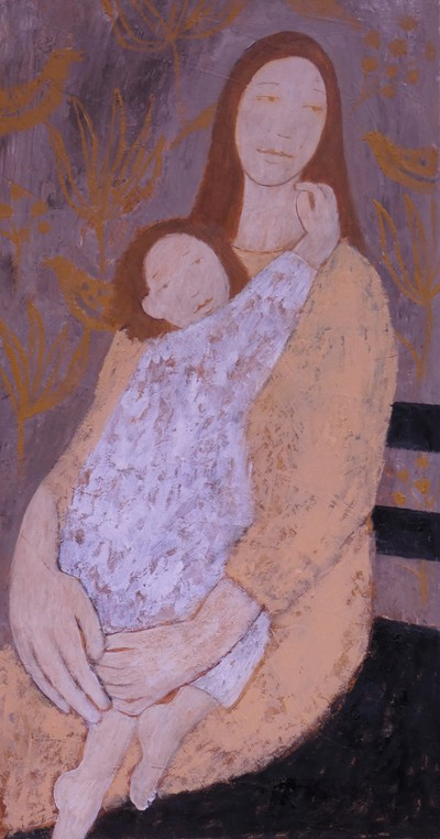 Helen Tabor Girl with Child 1 Oil on board  65 x 34 cms £1300