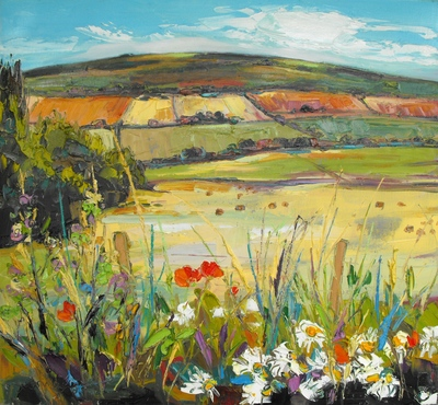 Judith I Bridgland Flowers in Hedgerow by Rolling Hills oil on linen 60 x 66 cms £3200