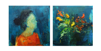 Henry Jabbour In Bloom My Heart III (Diptych) Oil on linen 30 x 60 cms £1200 SOLD
