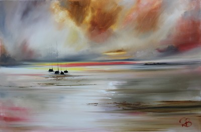 Rosanne Barr Sunset Stained Sky oil on canvas 50 x 70 cms £1300