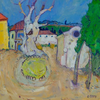 David Smith RSW Village Square, Languedoc Oil 24 x 24 ins £2600