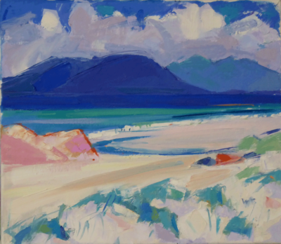 Marion Thomson  The Hills of Harris from Berneray  Oil on canvas  35 x 40 cms £950 SOLD