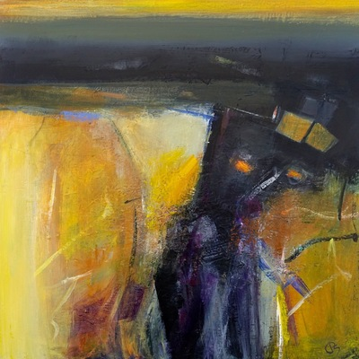 Patricia Sadler Yellow Fields Acrylic on canvas 50 x 50 cms SOLD