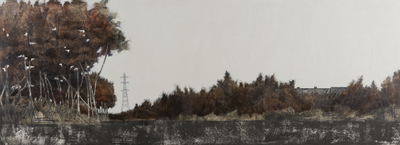 Cate Inglis Tree Line and Pylon 40 x 112 cms £2200