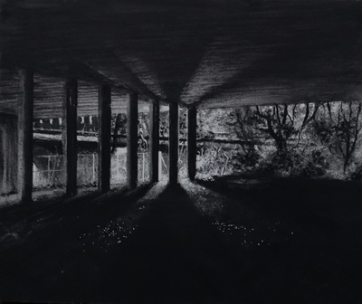 Jonathan Stockley Underpass Charcoal  10 x 12 cms £225
