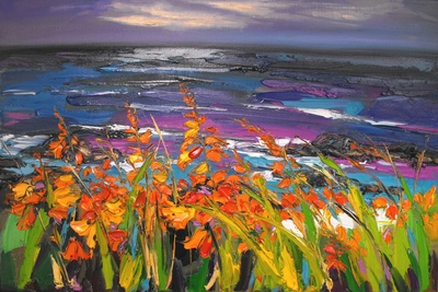 Judith I Bridgland Montbretia, Causeway Coast oil on linen 51 x 76 cms £2950
