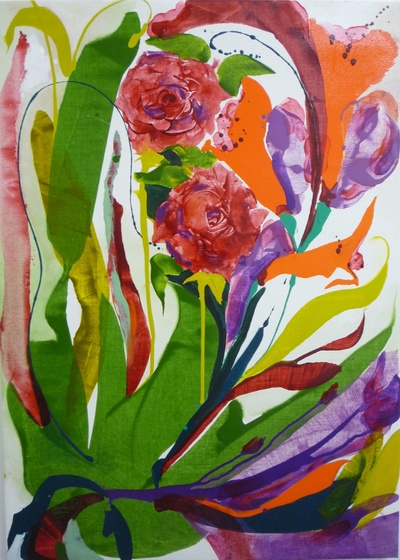 Rowena Comrie Feral Blooms Oil on linen  106 x 76 cms £2800