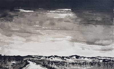 Naomi Rae Last of the Light, Above Corriegills, Isle of Arran Indian ink on paper  12 x 20 cms £195