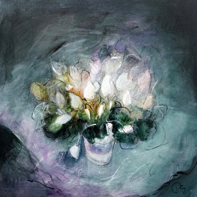 Patricia Sadler White Cyclamen Acrylic on canvas 50 x 50 cms SOLD