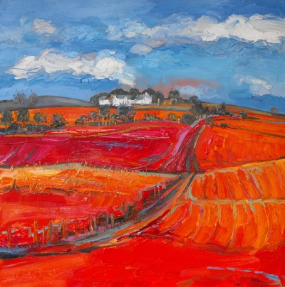 Judith I Bridgland Farm and Red Autumn Fields, Fife oil on linen 90 x 90 cms £4950