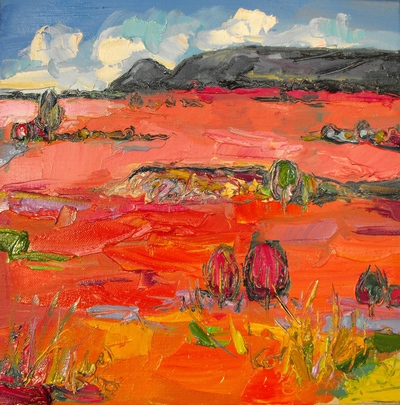 Judith I Bridgland Pink Grasses in Sunlight, The Campsies oil on linen 30 x 30 cms £1350