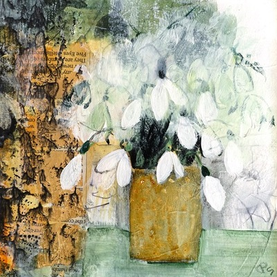 Patricia Sadler Snowdrops Mixed media  16 x 16 cms £275 (unframed)9