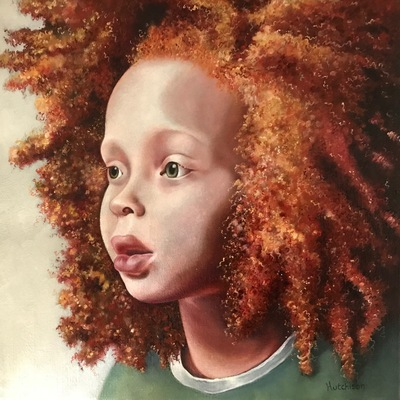 Red Afro Oil 20 x 20 cms SOLD