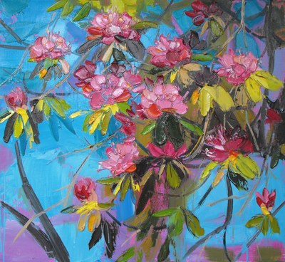 Judith I Bridgland Blue Summer Sky with Pink Rhdodendrons oil on linen 60 x 66 cms £3200