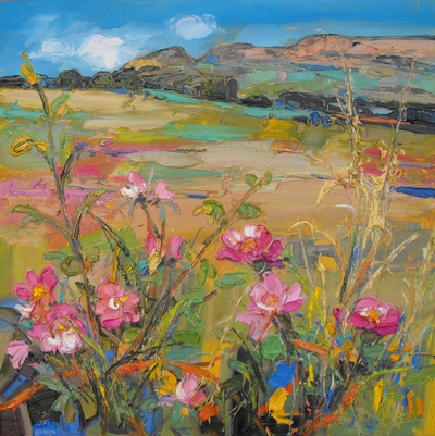 Judith I Bridgland Dog Roses, Blane Valley oil on linen 50 x 50 cms SOLD