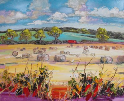 Judith I Bridgland Haybales, Ayrshire oil on linen 66 x 81 cms £3750