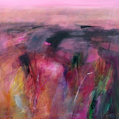 Patricia Sadler Pink Glow Over Border Fields Acrylic on canvas 80 x 80 cms £2500
