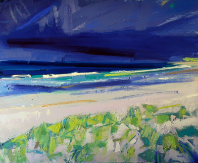 Marion Thomson Atlantic Shoreline, North Uist Oil on canvas  70 x 85 cms £2200