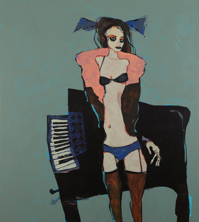 Pink Shrug and Piano acrylic on canvas 102 x 92 cms £5900