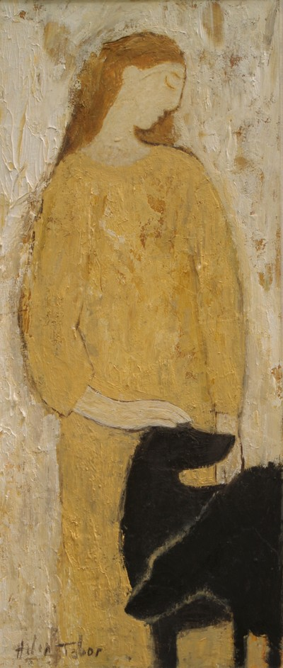 Helen Tabor Girl with Dogs 36 x 15 cms SOLD