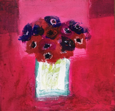 Caroline Bailey Anenomes on Red Mixed media  36 x 36 cms £1200 SOLD